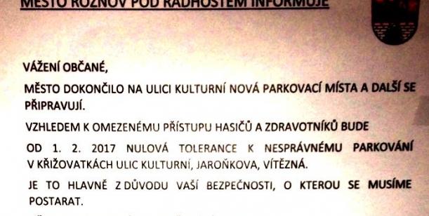 Proti omezování parkování na Kulturní ulici a okolí - Rožnov pod Radhoštěm