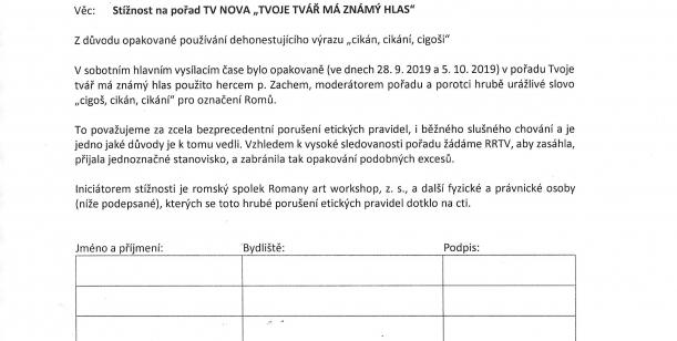 """Stížnost na pořad TV Nova """"Tvoje tvář má známý hlas"""""""