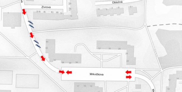 Zjednosměrnění části Mrkvičkovy ulice
