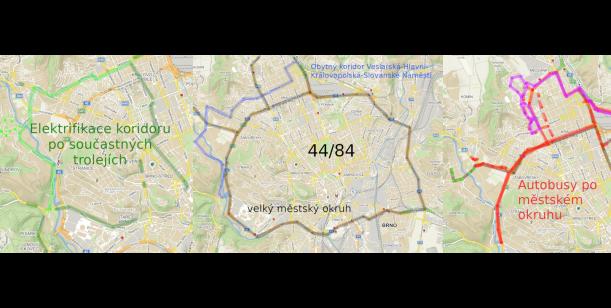 Odsun zbývajících úseků linky 44/84 na městský okruh, a/nebo její elektrifikace v obytných čtvrtích