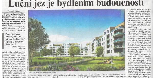 Za zvýšení kvality veřejného prostoru českobudějovické čtvrti Luční jez